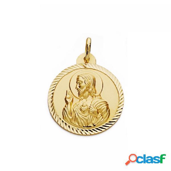 Medalla oro 18k escapulario 26mm virgen carmen corazón jesús