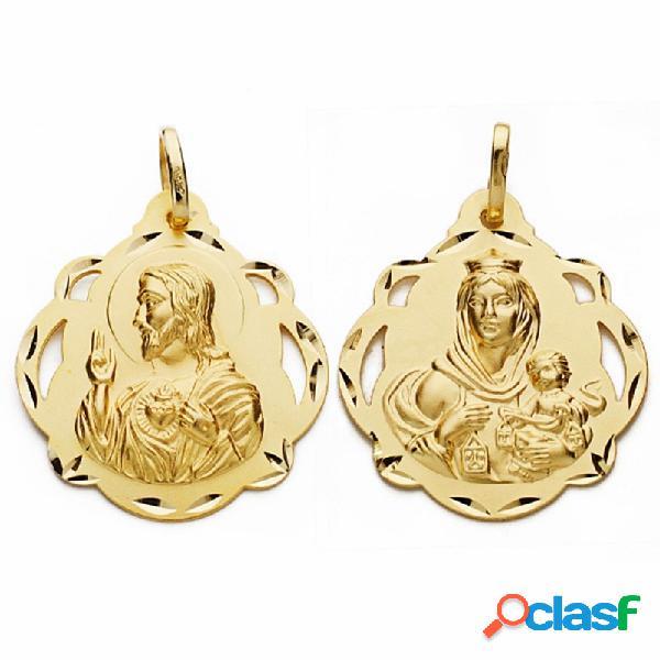 Medalla oro 18k escapulario 28mm virgen carmen corazón jesús