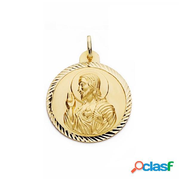 Medalla oro 18k escapulario 30mm virgen carmen corazón jesús