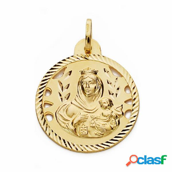 Medalla oro 18k Virgen del Carmen 24mm. calada cerco tallado