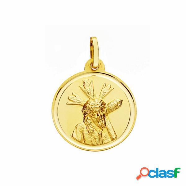 Medalla oro 18k cristo gran poder 18mm. lisa bisel