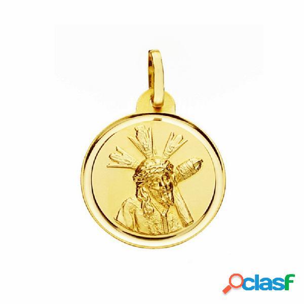 Medalla oro 18k Cristo Gran Poder 20mm. lisa bisel