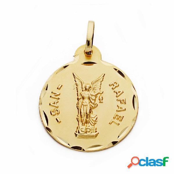Medalla oro 18k san rafael 20mm. labrado tallado