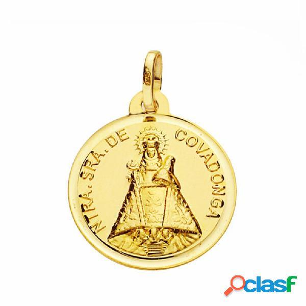Medalla oro 18k virgen de covadonga 18mm. lisa bisel