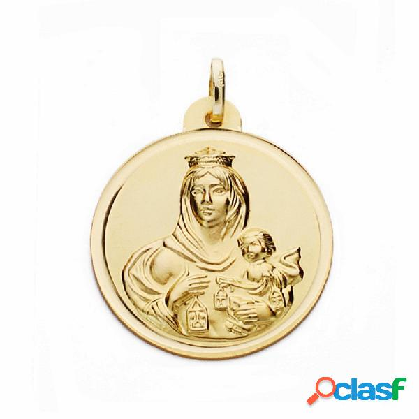 Medalla oro 18k Virgen del Carmen 24mm. bisel lisa