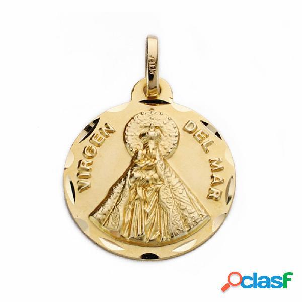Medalla oro 18k Virgen del Mar 18mm. labrado tallado