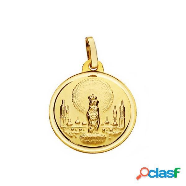 Medalla oro 18k virgen del pilar 18mm. lisa bisel