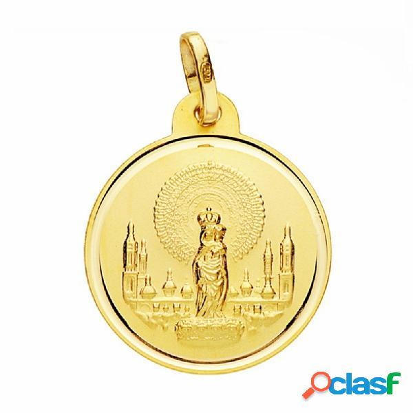 Medalla oro 18k virgen del pilar 20mm. lisa bisel