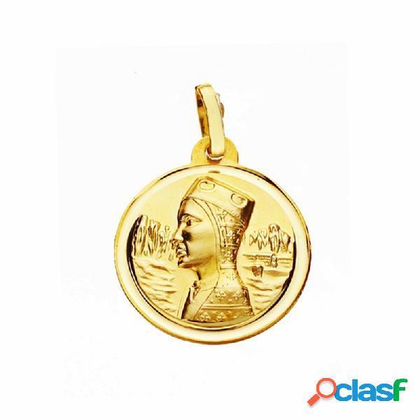 Medalla oro 18k virgen montserrat 18mm. lisa bisel