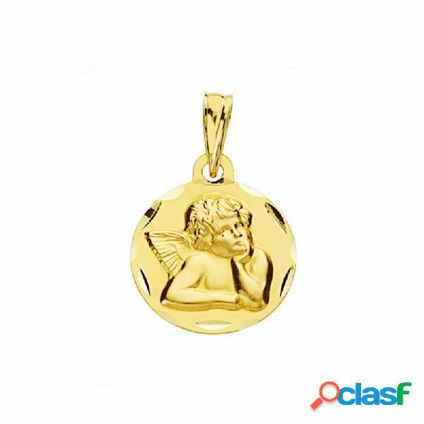 Medalla oro 18k ángel burlón querubín 14mm labrada tallada