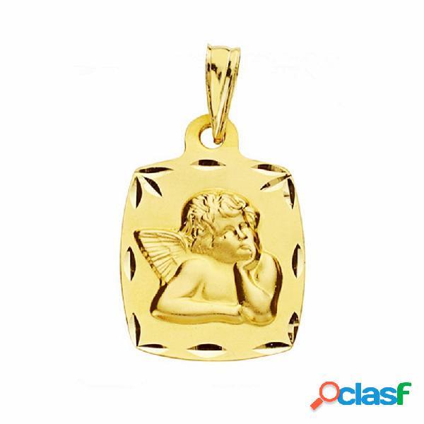 Medalla oro 18k ángel burlón querubín 20mm. labrada tallada