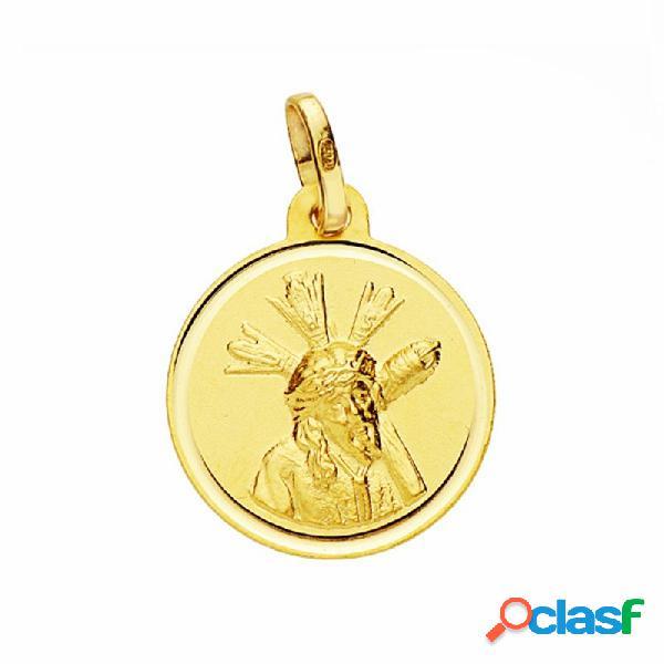 Medalla oro 18k cristo gran poder 16mm. lisa bisel
