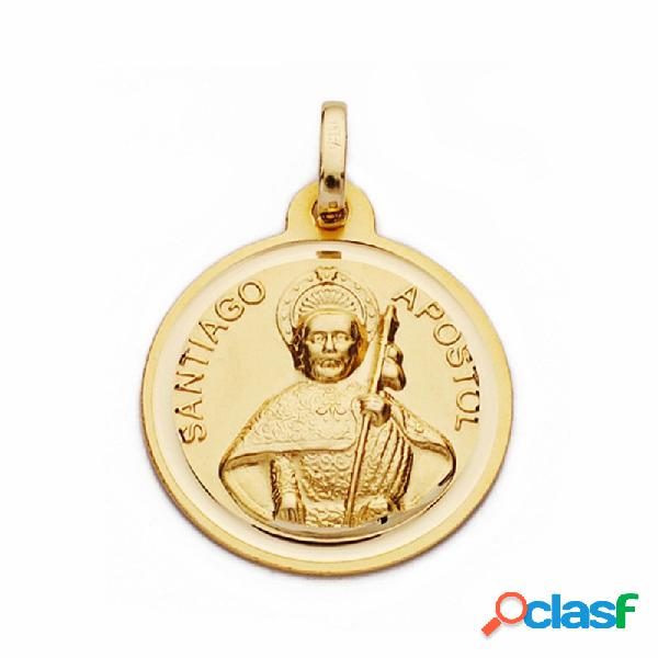 Medalla oro 18k Santiago Apóstol 18mm. lisa bisel