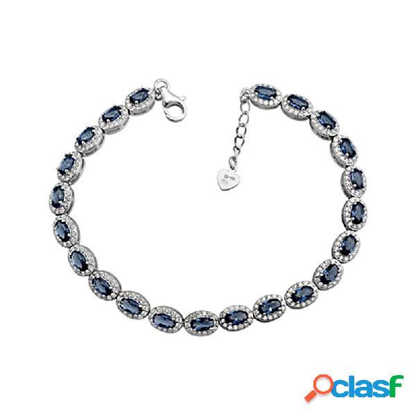 Pulsera plata ley 925m. rodiada ovales color zafiro