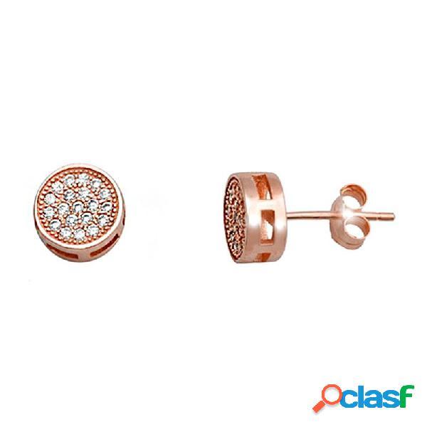 Pendientes plata ley 925m. rosa 8mm. circonitas