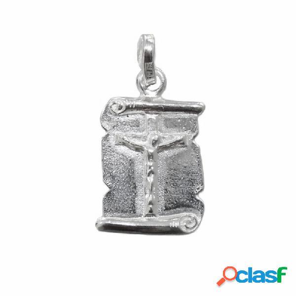 Colgante plata ley 925m chapa pergamino con cristo crucifijo