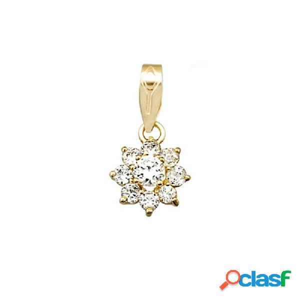 Colgante oro 18k flor cuajo circonitas