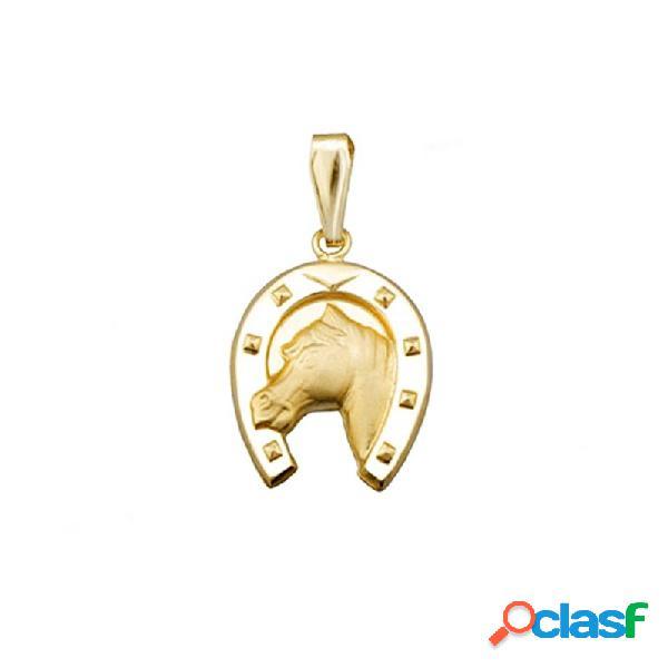 Colgante oro 18k herradura caballo amuleto suerte