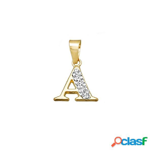 Colgante oro 18k inicial letra a cristal en resina