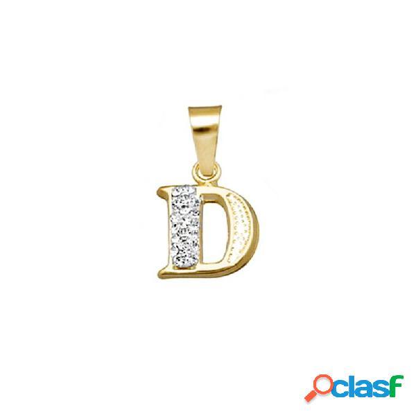 Colgante oro 18k inicial letra d cristal en resina