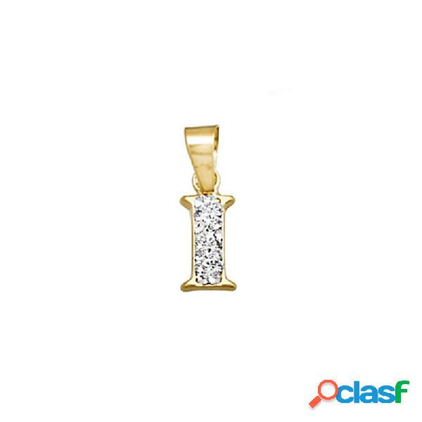 Colgante oro 18k inicial letra i cristal en resina