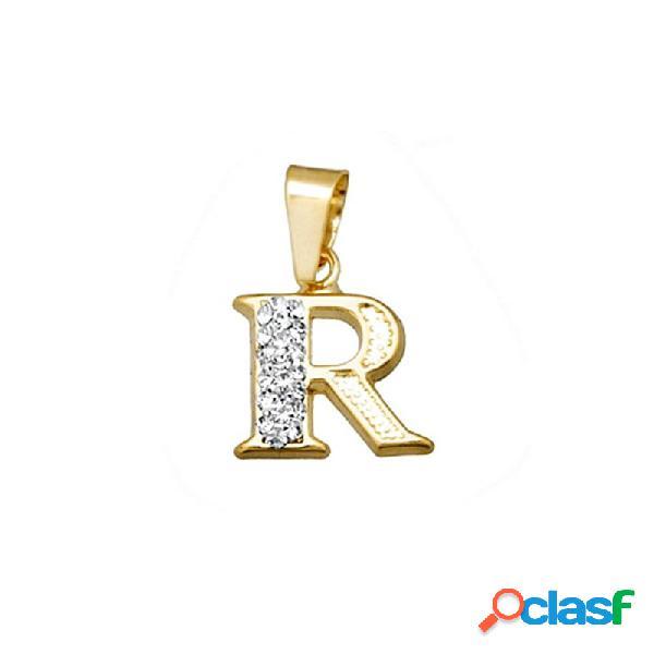 Colgante oro 18k inicial letra r cristal en resina