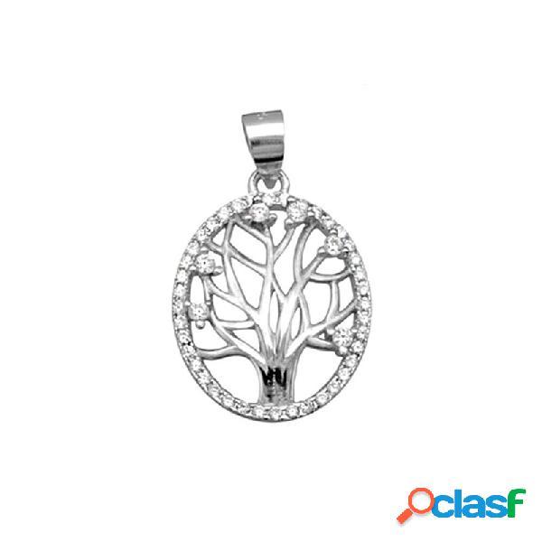 Colgante plata ley 925m. rodiada árbol vida circonitas oval