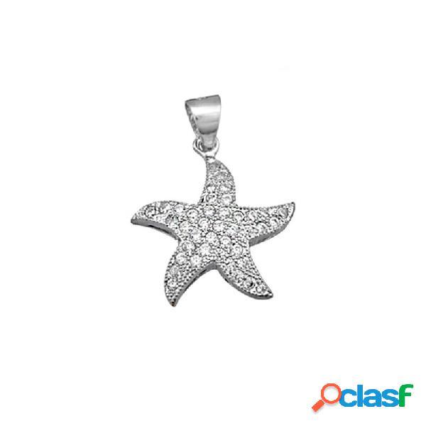 Colgante plata ley 925m. rodiada estrella de mar circonitas