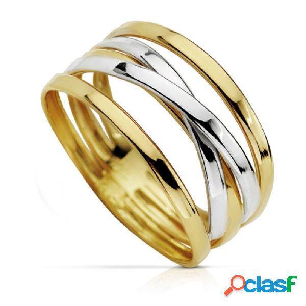 Sortija oro 18k bicolor bandas blancas cruzadas