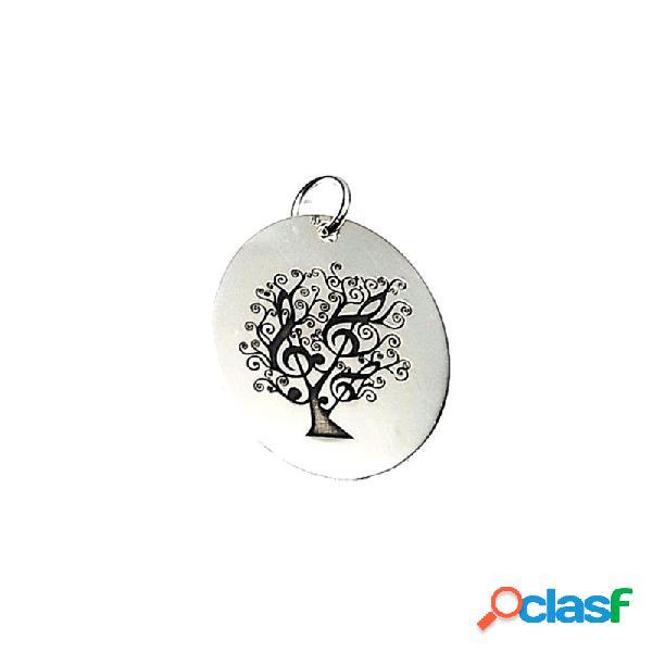 Colgante plata ley 925m 27mm. árbol vida clave sol ovalado