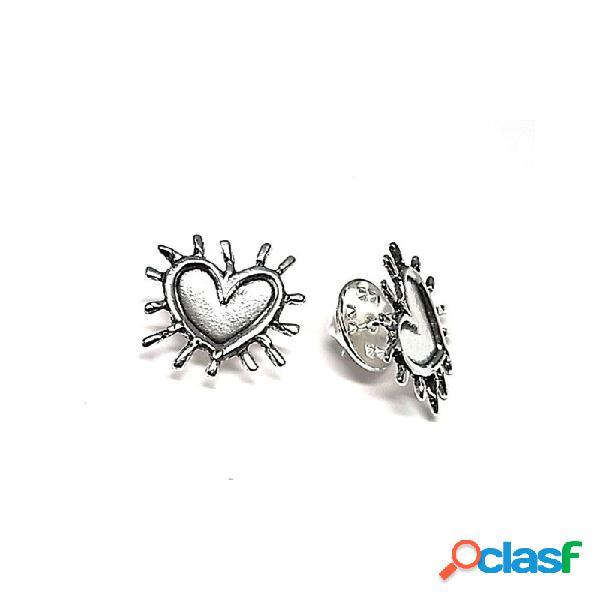 Pin plata ley 925m oxidado 17mm. liso corazón espinas
