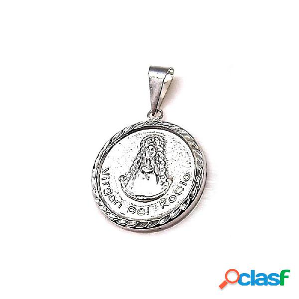 Colgante plata ley 925m 20mm. medalla virgen rocío