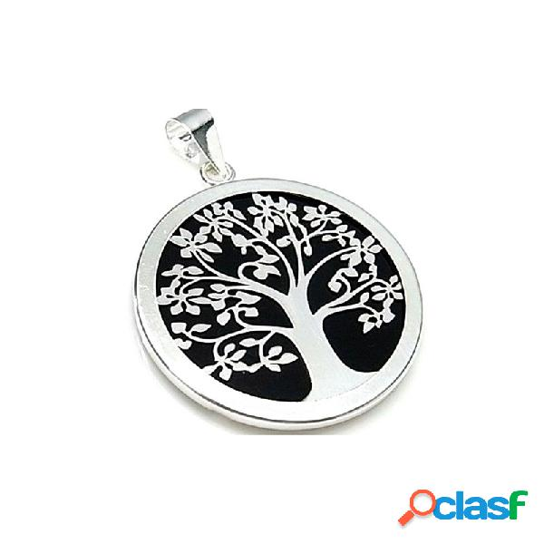 Colgante plata ley 925m 40mm. árbol vida acetato negro cerco