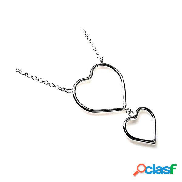 Gargantilla plata ley 925m silueta corazones colgando 40mm.