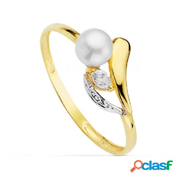 Sortija oro 18k bicolor perla 4.5mm. piedra primera comunión