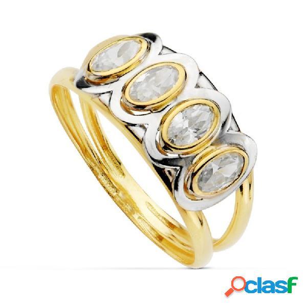 Sortija oro 18k piedras oval bicolor primera comunión