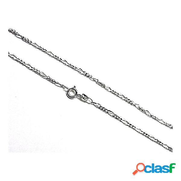 Cadena plata ley 925m lisa 80cm. alternada 3x1 hilo 0.50mm.