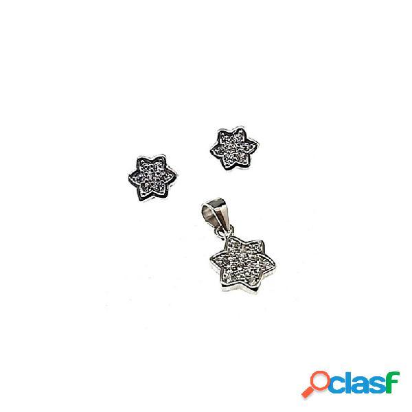 Juego plata ley 925m estrella rodiado piedras circonitas