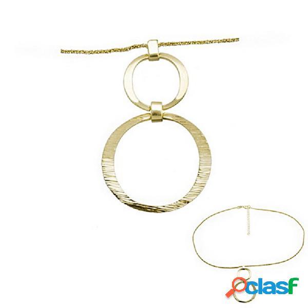 Colgante collar plata ley 925m baño oro aros planos rayados