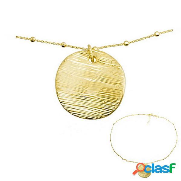 Colgante collar plata ley 925m baño oro circulo rayado