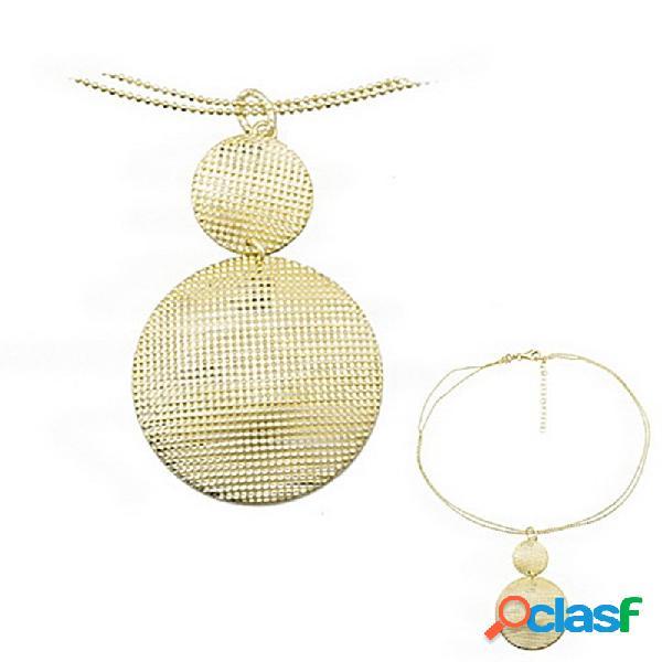 Colgante collar plata ley 925m baño oro circulos granulados