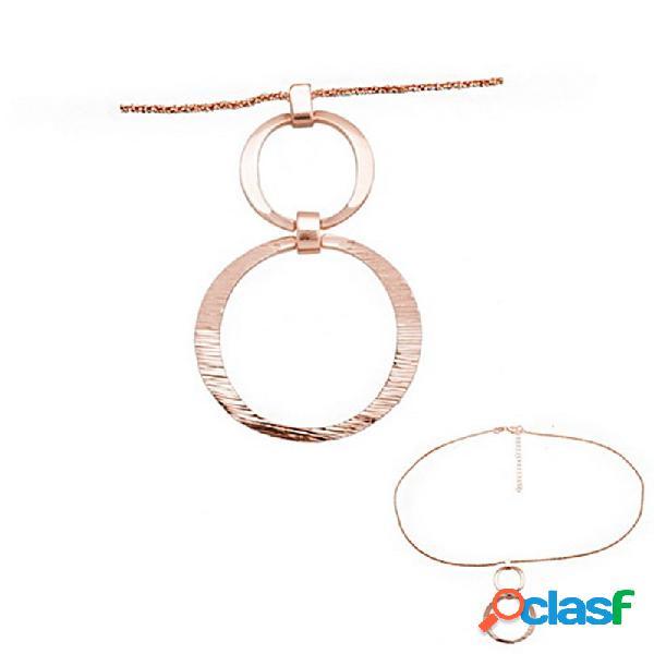 Colgante collar plata ley 925m baño rosa aros planos rayados