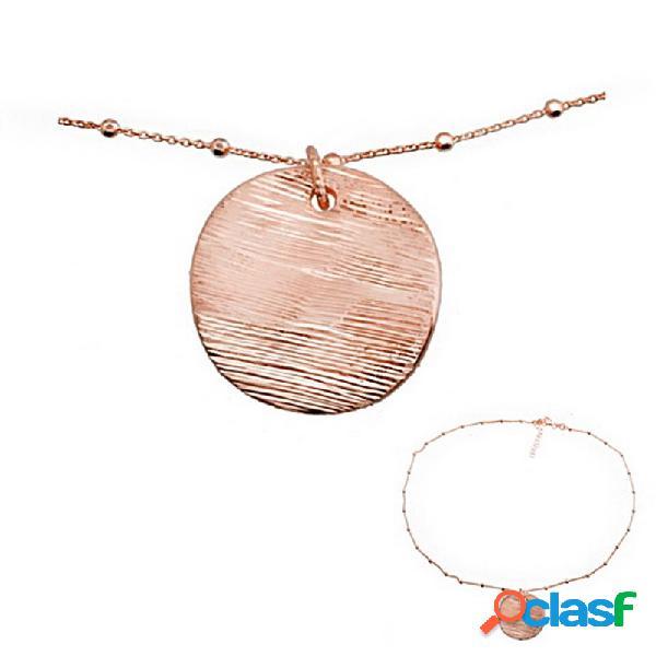 Colgante collar plata ley 925m baño rosa circulo rayado