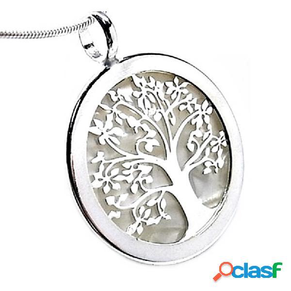 Colgante plata ley 925m árbol vida acetato blanco cerco 30mm.