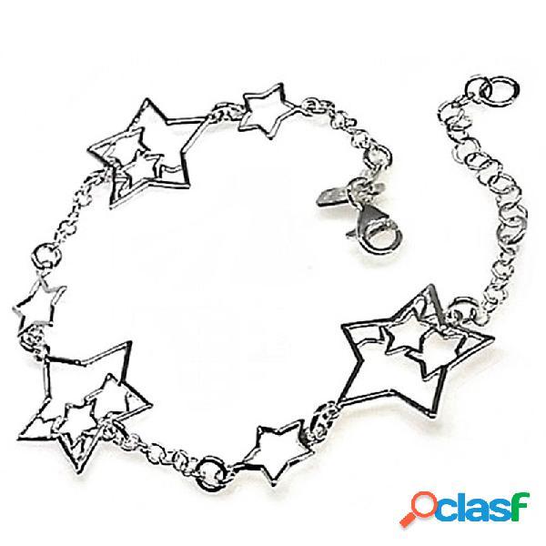 Pulsera plata ley 925m cadena rolo estrellas caladas