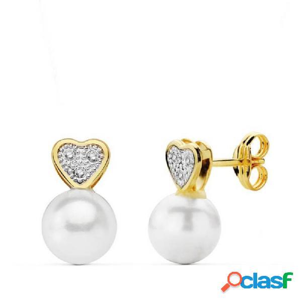 Pendientes oro 18k perla shell corazón multipiedra 11mm.