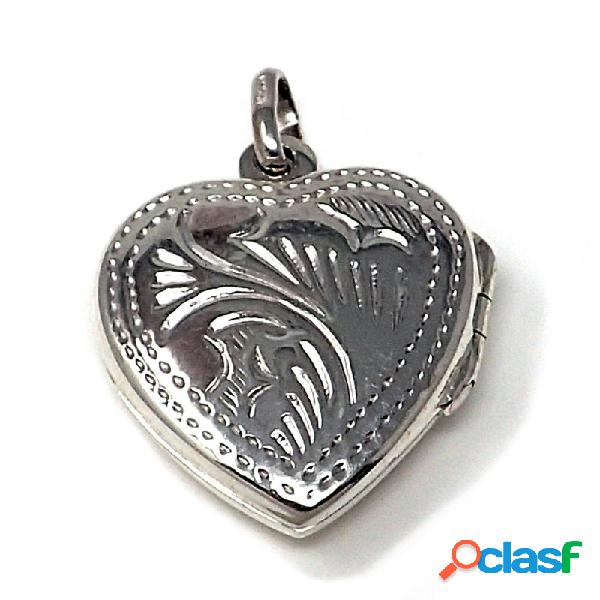 Colgante guardapelo plata ley 925m forma corazón