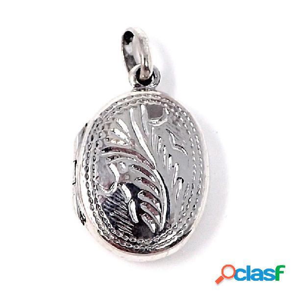 Colgante guardapelo plata ley 925m forma oval