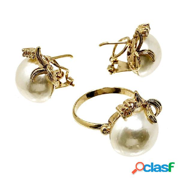 Juego plata ley 925m pendientes sortija perlas imitación