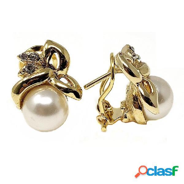 Pendientes bisutería metal dorados 17mm. perla